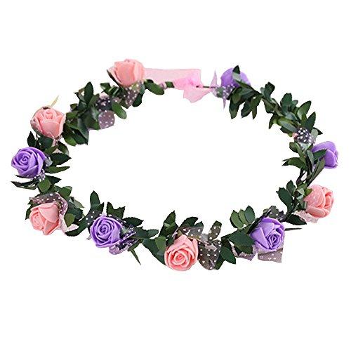 Gilroy Bohemian Rose Flower Crown Headband Bridal Wedding Hair Garland Wreath Headdress - Pink + Purple