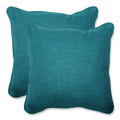 "Pillow Perfect Outdoor Rave Teal Throw Pillow, Set of 2, 18.5"", Green"