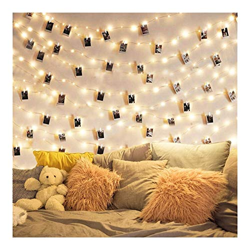 Party decorations 2m / 5m / 10m Photo Clip Light String Led Usb Outdoor Battery-powered Garland With Clothespin For Home Decoration Light String balloons (Color : 3AA 5M 50LED, Size : White)