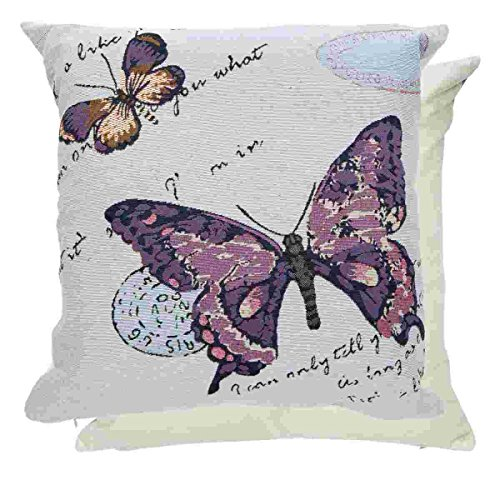 Clayre & Eef KT021, 060 federa cuscino circa 45 x 45 cm federa farfalle