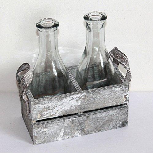 AAF Nommel ® Blumenvase 2'er Set Flaschen aus Klarglas in Holzkiste mit Kunstledergriffen, Natur grau zur Dekoration Nr. 004