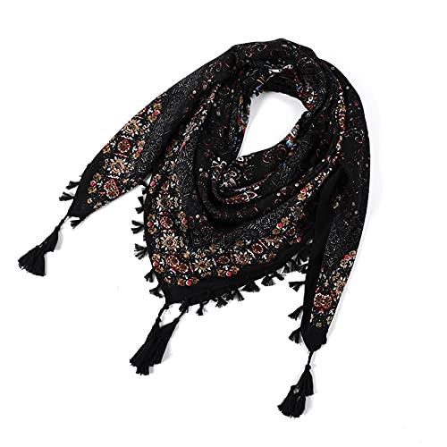 Sawekin Schal für Damen Halstuch/Kopftuch Palästinenser Tuch Dreieckstuch mit Zier-Quasten Baumwolle Pali-Tuch Schals Unisex,115 * 115cm(11)