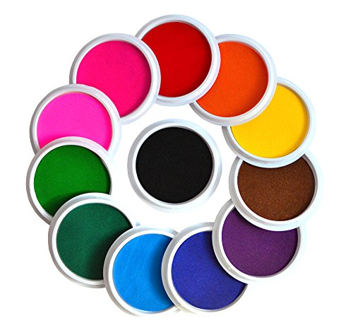 Myboree Washable Large Ink Pads for Kids Crafts Projects Rubber Stamps 12 Colors (Giving Up A Career To Stay At Home)
