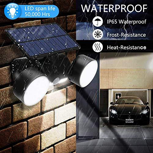 CINOTON Solar Flood Lights Outdoor Motion Sensor 30 LED Solar Light Dual Head Spotlights IP65 Waterproof 360°Rotatable Solar Landscape Light for Yard Garage Patio Porch