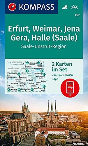 KV WK 457 Erfurt, Weimar, Jena, Gera, Halle (Saale) (2-K-Set): 2 Wanderkarten 1:50000 im Set inklusive Karte zur offline Verwendung in der KOMPASS-App. Fahrradfahren. (KOMPASS-Wanderkarten, Band 457)