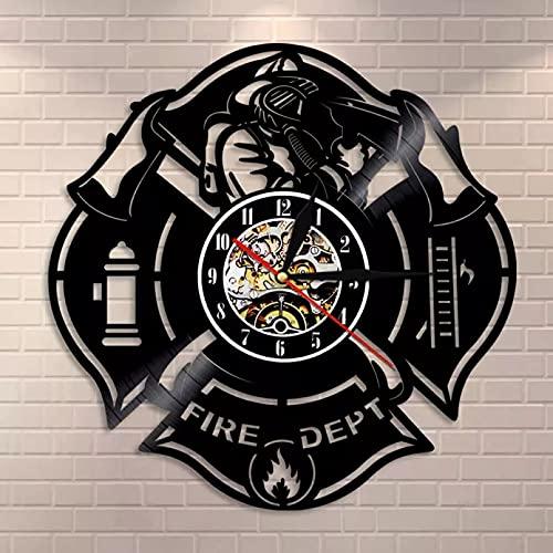 Firefighter Vintage Bomberos Hacha Record Decoración del Hogar Departamento de Bomberos Señal Estación de Señal de Bomberos Reloj de Pared