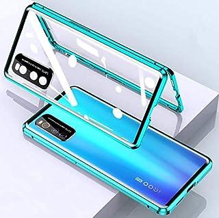 iQOO Neo3 5G ケース iQOO Neo3 5G バンパー 磁気吸着ケース ガラス背面パネル カメラリング付 iQOO Neo3 金属フレーム マグネット式 カバー (グリーン)