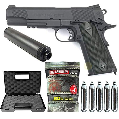 Airsoft-Pack 1911 Rail Gun Stainless Black Co2 Full Metal-cybergun 180524- Semi Automatik (0,5 Joule)
