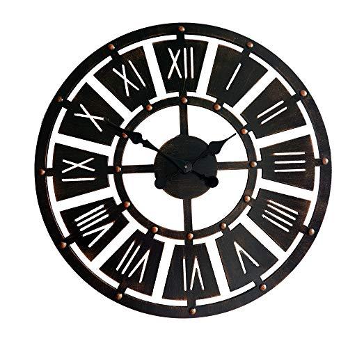 TYXL Wall Clocks Europäische Retro Wanddekoration 3D Holz Wanduhr Kreative Stereo Römische Ziffer Wohnzimmer Quarzuhr 60 cm