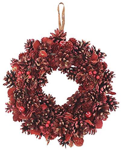 Deko Kranz Ø 30cm geschmückt - rot - Weihnachtskranz
