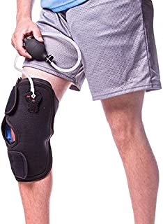Knee Brace for Bursitis, Osteoarthritis, Bone on Bone Knee Pain Relief and Cartilage Degeneration (One Size - Includes 2 Cold Therapy Gels and Air Compression Pump)