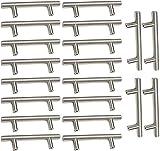20 tiradores de armario de cocina de acero cepillado, barra de cocina, puerta de acero inoxidable, diámetro de 12 mm (hule centers: 96 mm)