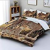 Juego de funda nórdica, madre de guepardos y dos bebés pequeños en busca de comida Animales exóticos peligrosos Juego de cama decorativo de 3 piezas con 2 fundas de almohada, negro bronceado, el mejor