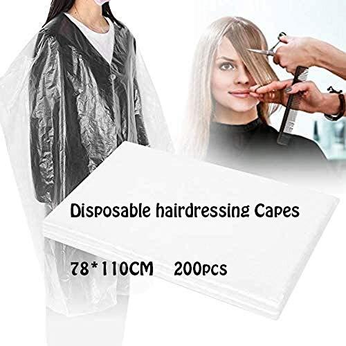 Coiffure, Capes 200pcs à usage unique coupe de cheveux Capes Tabliers, imperméable transparent salon de coiffure coupe de cheveux Robes Salon de coiffure Capes for enfants adultes, 78 * 110cm