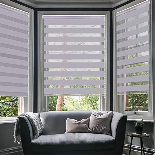 LUCKUP Horizontal Window Shade Blind Zebra Dual Roller Blinds Day and Night Blinds Curtains,Easy to Install 43.3
