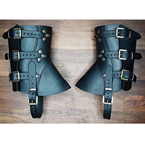 WFTD Cubierta De Zapatos De Botas De Grebas Medievales Renacentistas, Armadura De Pierna De Cuero, Accesorio De Disfraz De Caballero Guerrero Vikingo Steampunk para Hombres Y Mujeres,Negro
