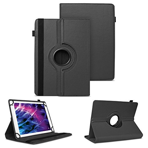 Tablet Schutzhülle für Medion Lifetab P10610 P10603 P10606 P10602 X10605 X10607 X10311 P9702 X10302 P10400 P10356 P10325 P10326 P10506 P10505 Hülle Tasche Standfunktion 360° Drehbar, Farben:Schwarz