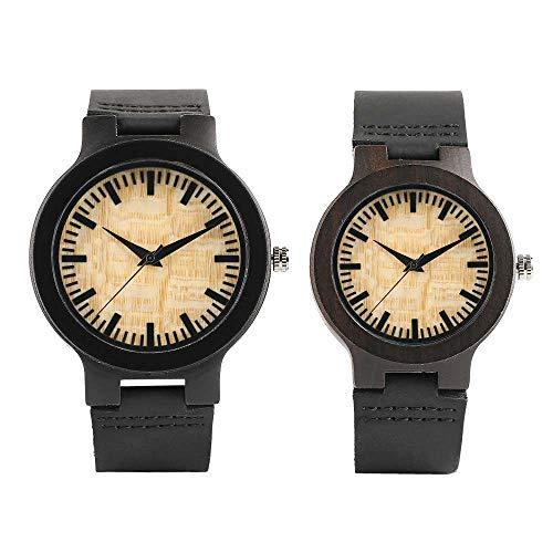 YJRIC Reloj de Madera Relojes de Pareja Caja de Bronce Oscuro Esfera Amarilla Reloj de Madera Reloj de Cuarzo de bambú Moderno Relojes de Madera Hechos a Mano Correa de Cuero Suave, Pareja