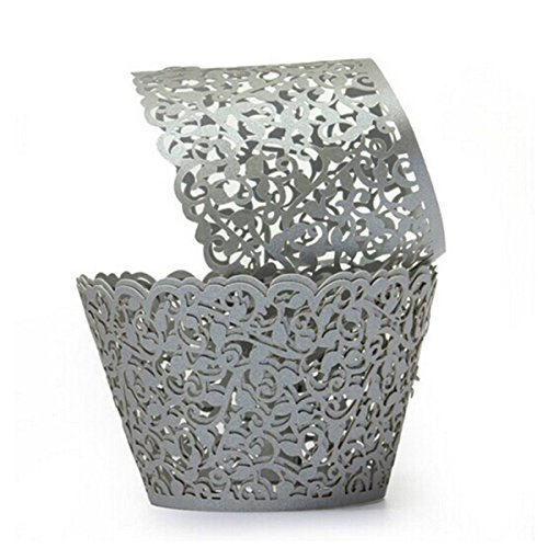 ROSENICE Cupcake Wrappers Wedding Wrap Laser Cut for Party Baby Shower Decor 50pcs Silver
