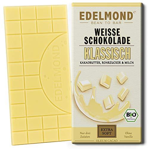 Klassische weiße Bio Schokolade von Edelmond mit nur 3 Zutaten. Reiner Geschmack und vollkommener Schmelz.