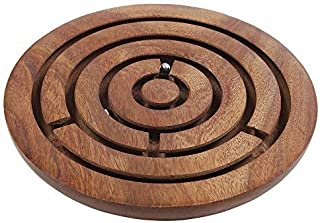 storeindya Ball in Maze - Wooden Labyrinth Puzzle - Holiday Board Game - Travel Toy Brain Teaser for Kids Adults (Basic Round)