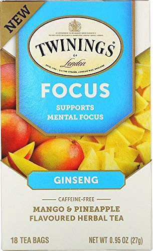 Twinings, Focus Herbal Tea, Ginseng, Mango & Pineapple, Caffeine Free (18 Tea Bags)