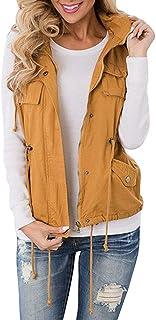 Hestenve Womens Military Sleeveless Vest Anorak Drawstring Lightweight  Jacket 63fc8235af47