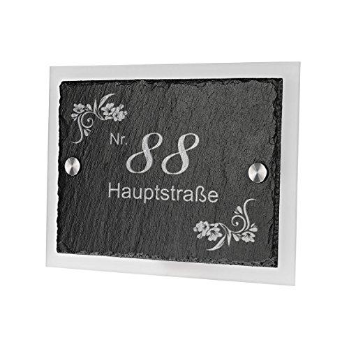 Ardoise plaque de porte avec verre acrylique avec gravure personnalisée motif ornements fleurs