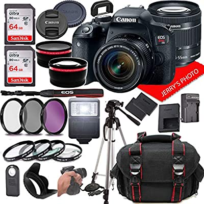 Canon EOS Rebel T7i DSLR Camera w/Canon EF-S 18-55mm F/4-5.6 is STM Zoom Lens + Case + 128GB Memory (28pc Bundle) from Jerry's Photo | Canon Intl