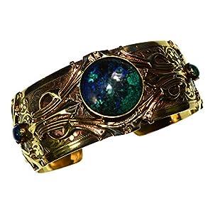 Chrysocolla Hand Polished Antique Brass Art Deco Motif Cuff Bracelet