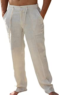 Mens Linen Pants Beach Casual Summer Elastic Waist Drawstring Loose Fit Trousers with Pockets