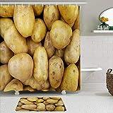 Stoff Duschvorhang & Matten Set,Brown Autumn Close Up Rohe Kartoffel Muster Herbst Markt Abstract Food Drink Bunt Schön Köstlich,wasserabweisende Badvorhänge mit 12 Haken,rutschfeste Teppiche