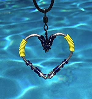 The ORIGINAL FISH HOOK HEART Necklace - Blue and Yellow Wire on Silver Hooks