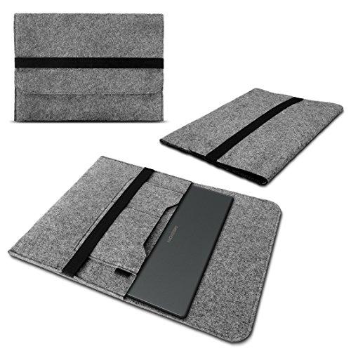 Nauci Laptop Tasche Sleeve Hülle für Medion Erazer P7648 P7647 X7855 X7857 X7841 Notebook Netbook Ultrabook Case Schutzhülle Filz in Grau mit Innentaschen