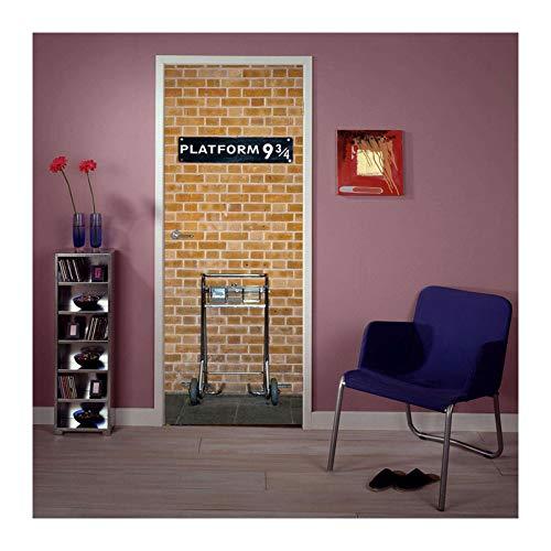 Siunwdiy Puerta Mural Kings Plataforma 9 3/4 Papel Pintado 3D Pegatina de la Puerta de ladrillo DIY Mural Decoración del hogar Póster PVC Puerta Impermeable Puertas Póster de Pared,95x215cm(37'x86')