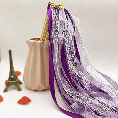 LAIYYI Lint Wands Bruiloft Streamers met Klokken, Zijde Kant Fairy Stick Wand Party Favors voor Valentijnsfeest Activiteiten Vakantie Viering, 10 Stks/30 STKS Optioneel 10pcs Paars