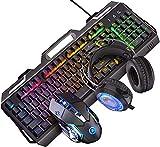 Ganquer Teclado para Gaming Ratón Set Duradero Escritorio LED Retroiluminación con Cable USB Ordenador Teclado para Gaming y Ratón Combo - Negro + Arco Iris (Auriculares), Free Size