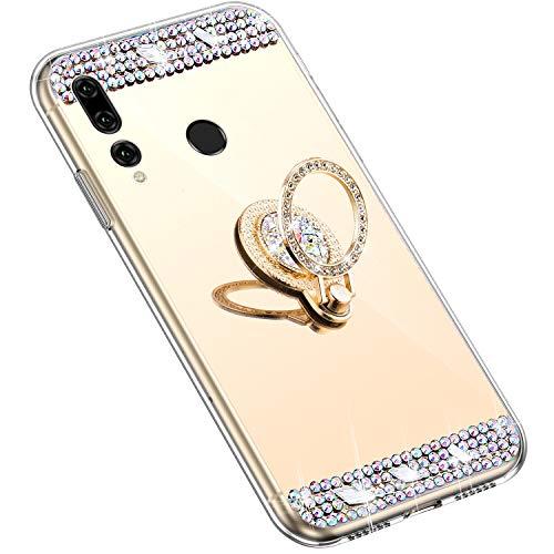 Uposao Kompatibel mit Huawei P Smart Plus 2019 Hülle mit 360 Grad Ring Ständer Glänzend Glitzer Strass Diamant Transparent TPU Silikon Handyhülle Ultra Dünn Durchsichtig Schutzhülle Case,Gold
