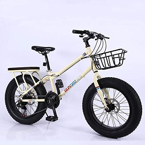 Fslt 20-Zoll-Fat-Reifen-Fahrrad 7-Gang-Mountainbike Stoßdämpfendes Breitreifen-Fahrrad 4 0 Extra großer Reifen Variable Geschwindigkeit Schnee-Fahrrad-Gelb