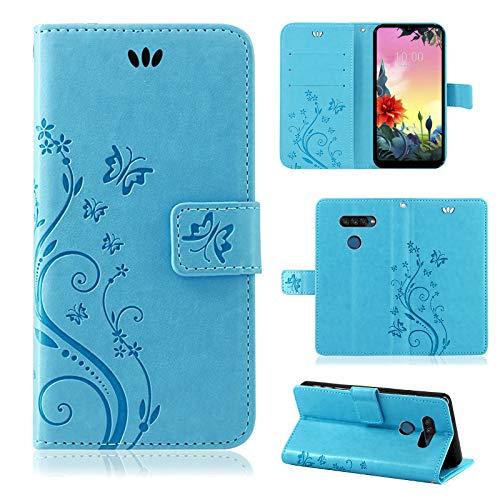 betterfon LG K50S Hülle Handy Tasche Handyhülle Etui Wallet Hülle Schutzhülle mit Magnetverschluss/Kartenfächer für LG K50S Blume Blau