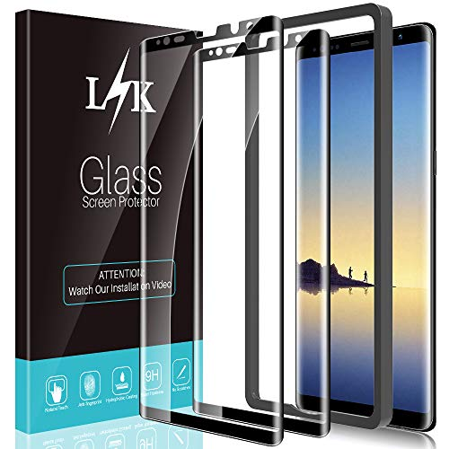 [2 Pack] LϟK Screen Protector Compatible for Samsung Galaxy Note 8 Tempered Glass Film [Full Coverage] with Easy Installation Tray