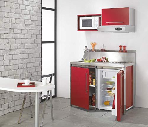MODERNA Kitchenette complète Metalline 120x60 Rouge Carmin