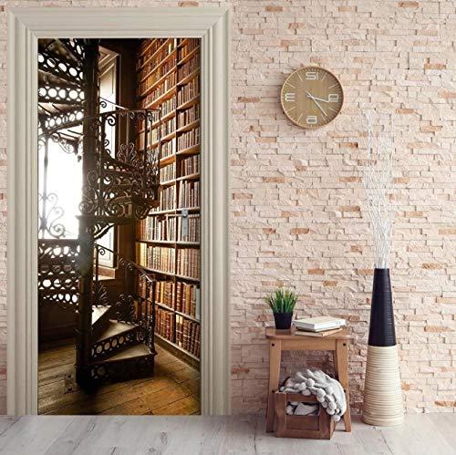 WISOEEP Door Sticker Self Paper Spiral Staircase Bookshelf Adhesive Decal Home Decor DIY Living Room PVC Waterproof 3D Print Sticker Art