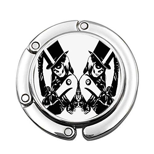 Symmetrical Design of Sugar Skull Girls with Billiard Ball Lucky Tattoo with Hat Custom Various Design Pattern Shoulder Handbag Folding Purse Hanger Hook