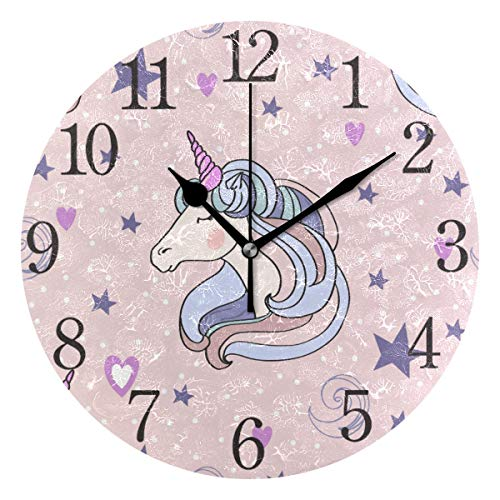 ISAOA Reloj de Pared Moderno de 24 cm, diseño de Unicornio Rosa, silencioso, Redondo, para Dormitorio, niños, Sala de Estar, Cocina