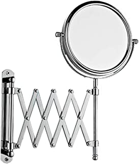 Large Wall Mounted Extension Vanity Mirror 1x 3X Magnification - Maximum Extension Bathroom Bedroom - Stainless Steel Chrome Finish - Swivel Head Design