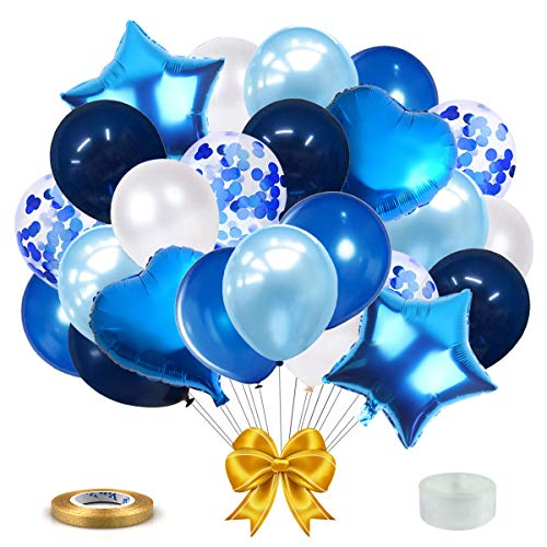 SWEETSMILE Navy Blue Royal Blue Light Blue Balloons White and Blue Confetti Latex Balloons Blue Heart Star Shaped Foil Balloons Garland Arch Kit and Ribbon 54PCS for Birthday Wedding Graduation Party Decoration