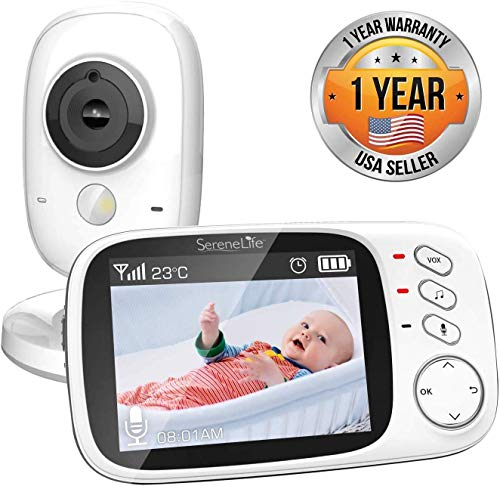 Imagen para Monitor de Video inalámbrico SereneLife para bebés, Sistema de cámara para monitorear el sueño del niño con Pantalla y Altavoz de 3.2