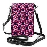 Pequeña Crossbody del cráneo rosa bolsos monedero del teléfono celular para las mujeres