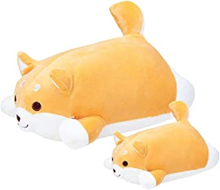 QinWenYan Oreiller de Voyage Cartoon Shiba Inu Doux Coussin Oreiller Chien en Peluche en Peluche (Color : Yellow, Size : 3...